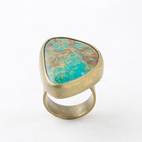 Roost Royston Turquoise & Brass Ring in 8