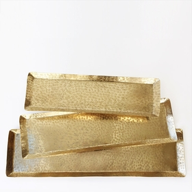 Roost Textured Brass Rectangular Trays (Set of 3)