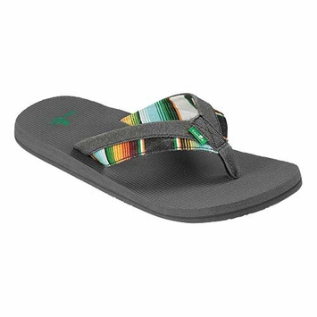 Sanuk Men's Beer Cozy Light Funk Sandal in Charcoal Stripe