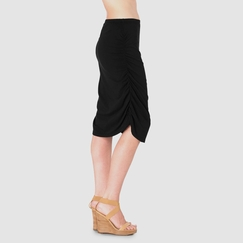 Sense Ruched Pencil Skirt in Black