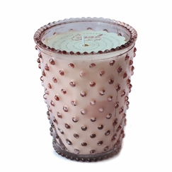 Simpatico Hobnail Glass Candle in Coral
