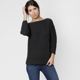 Eco Six Ten Cotton Boatneck Sweater in Charcoal