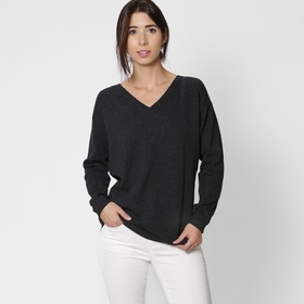 Eco Six Ten Cotton V-Neck Sweater in Carbon