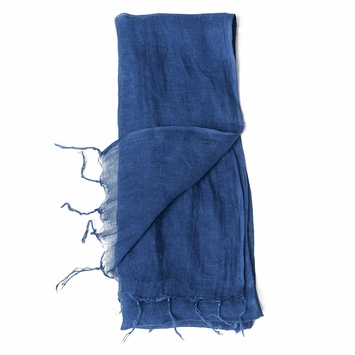 Slowcolor Handloomed Linen Accent Scarf in Alpine Air