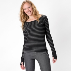 Solow Anthracita Long Sleeve Thermal in Black Stripe