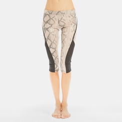 Solow Cropped Side Mesh Legging in Blush Snake Print