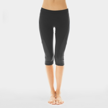 Solow Cropped Side Mesh Legging in Black