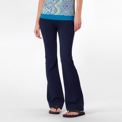 Solow Foldover Bootcut Pant in Navy/Mediterranean
