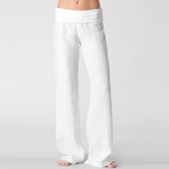 Solow Foldover Linen Pant in White