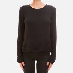 Solow Haichi Pocket Pullover in Black