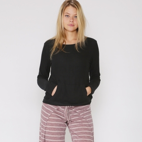 Solow Faux Cashmere Pocket Pullover in Black