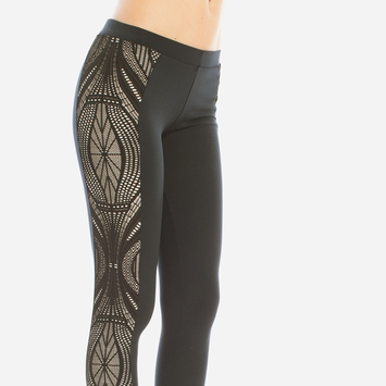 Solow Lace Sidepanel Legging in Black
