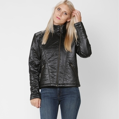 Solow Quilted Moto Jacket in Black
