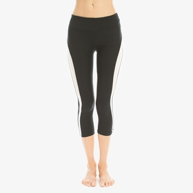 Solow Racer Stripe Capri Legging in Black