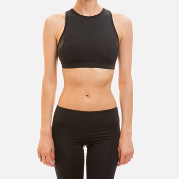 Solow Vegan Suede Paneled Sports Bra in Black