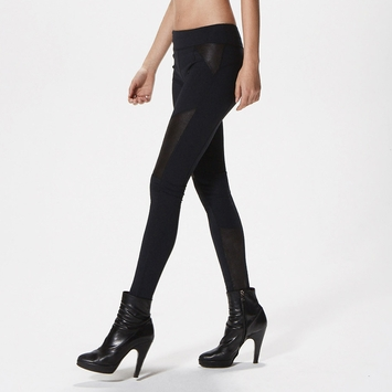 Solow Vegan Suede Panel Legging in Black