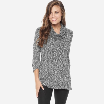 Splendid Lake Front Loose Knit Cowl Top in Black