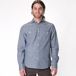 Organic Threads 4 Thought Chambray Long Sleeve Shirt in Navy