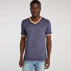 Organic Threads 4 Thought Color Block Burnout Ringer V-Neck Tee in Eclipse Blue/Yellow