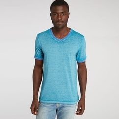 Organic Threads 4 Thought Color Block Burnout Ringer V-Neck Tee in Mosaic Blue/Curacao Blue