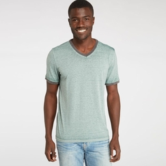 Organic Threads 4 Thought Color Block Burnout Ringer V-Neck Tee in Silver Pine/Raven