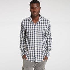 Organic Threads 4 Thought L/S Woven Shirt in Navy/Ecru Plaid
