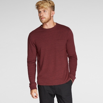 Organic Threads 4 Thought Long Sleeve Crew Neck Pocket Tee in Biking Red