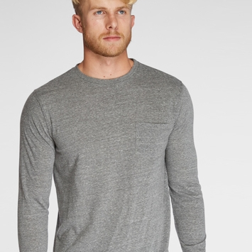 Organic Threads 4 Thought Long Sleeve Crew Neck Pocket Tee in Heather Grey