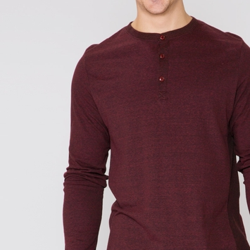 Organic Threads 4 Thought Long Sleeve Henley Thermal Shirt in Biking Red