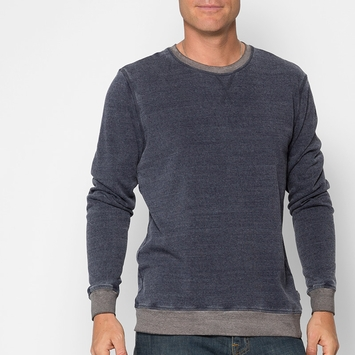 Organic Threads 4 Thought Ringer L/S Crewneck in Eclipse Blue/Heather Grey