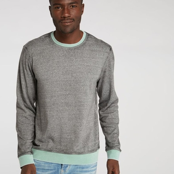 Organic Threads 4 Thought Ringer L/S Crewneck in Heather Grey/Malachite Green