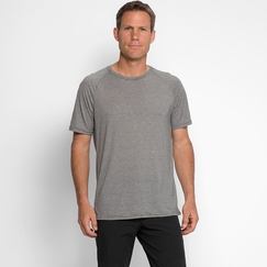 Organic Threads 4 Thought Short Sleeve Mini Stripe Crew in Scour Grey