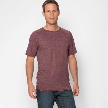 Organic Threads 4 Thought Short Sleeve Mini Stripe Crew in Fireworks Red