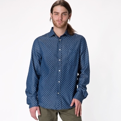 Organic Threads 4 Thought Single Pocket Polka Dot Long Sleeve Shirt in Navy Polka Dot