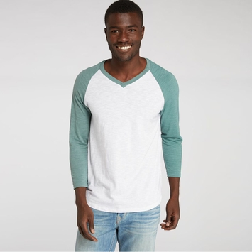 Organic Threads 4 Thought V-Neck 3/4 Sleeve Raglan in White/Silver Pine