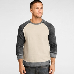 Organic Threads 4 Thought Burnout Raglan Crew in Oatmeal/Heather Gray