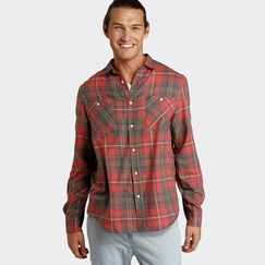 Organic Threads 4 Thought Slim Fit Flannel Shirt in Red/Gray