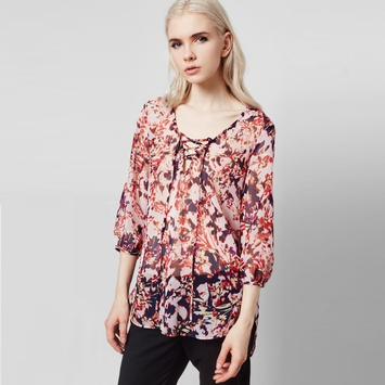 Three Eighty Two Harlan Lace-up Top in Helene Print