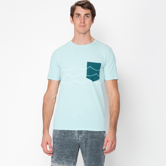 Topo Ranch Wave Pocket Organic Crew Tee ( Blue Fade )