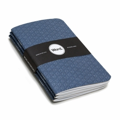 Word Pocket Ruled Notebook (Set of 3) (3.5 x 5.5) in Indigo
