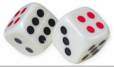 "1"" Plastic Dice (Set of 6)<!-- Click to Enlarge-->"