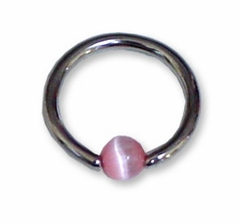 "14ga 1/2"" Surgical Steel Hoop with Pink Catseye Bead"