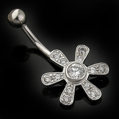 14K White Gold C.Z. Flower Navel Jewelry