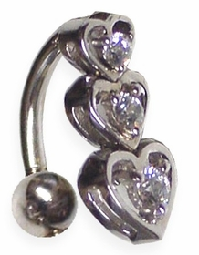 14kt White Gold Heart Navel Jewelry