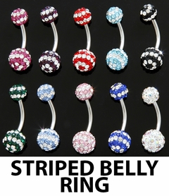 Navel Body Jewelry - 2 Pack of Assorted Striped Ferido Belly Rings