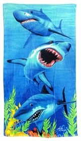 3 Hungry Sharks Beach Towel