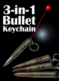 3 In 1 Bullet Keychain, LED Light and Laser Pointer