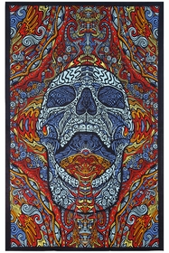 3D Mindful Skull Tapestry 60 x 90""