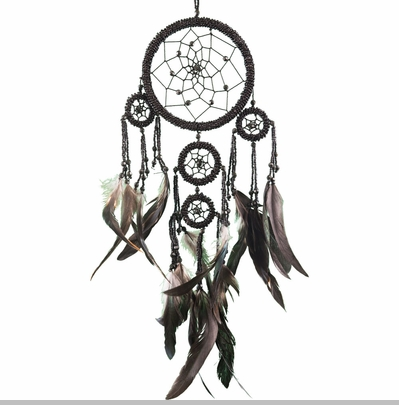 Large Black Beaded Dream Catcher<!-- Click to Enlarge-->