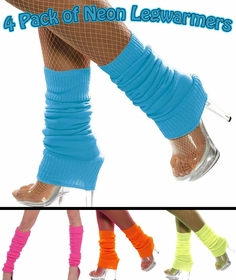 4 Pack of Neon Leg Warmers